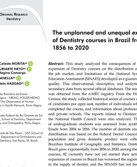 A expansão não planejada e desigual de cursos de Odontologia no Brasil, de 1856 a 2020